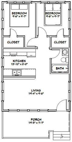 2 Bedroom Floor Plans, Garage Floor Plans, Small House Floor Plans, Cabin Floor Plans, 2 Bedroom Apartment Floor Plan, Kitchen Floor Plans, Two Bedroom Tiny House, Shed To Tiny House, Tiny House Cabin
