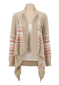 Fairisle open front cascade cardiwrap (original price, $44) available at #Maurices