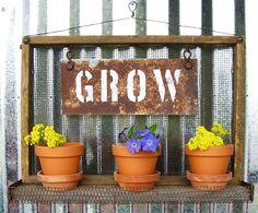 Planter Box, Terra Cotta Pots, GROW Handcrafted, Wall Hanging, Wall Art,  Rustic Home Decor, Planter, Garden Art