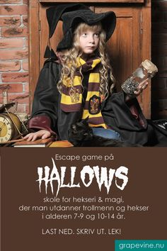 Escape game: Hallows skole for hekseri & magi år Halloween 2019, Halloween Costumes, Halloween Make, Escape Room, Art Activities For Kids, Baby Must Haves, Cute Quotes, Hats For Men, Witchcraft