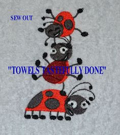STACK OF CUTE LADYBUGS -SET BATH HAND TOWELS by Susan