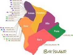 Beaches Map - Big Island, Hawaii
