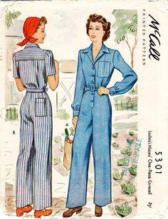 3247063023f 1940s repro vintage women s sewing pattern    rosie riveter    overalls jumpsuit  boiler suit workwear    PICK YOUR SIZE    English   French