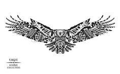 aigle stylis e Collection animale Main noir et blanc dessin doodle Ethnique motifs illustration vect Banque d'images