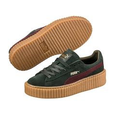 Puma PUMA BY RIHANNA MEN'S GREEN-BORDEAUX CREEPER ($140) ❤ liked on Polyvore featuring shoes, lace up shoes, punk shoes, green platform shoes, punk rock shoes and bordeaux shoes