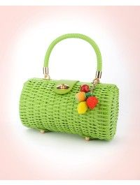 Wicker Baguette Purse in Lime Green with Fruit Charm
