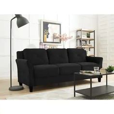 Tips That Help You Get The Best Leather Sofa Deal. Leather sofas and leather couch sets are available in a diversity of colors and styles. A leather couch is the ideal way to improve a space's design and th Furniture Outlet, Sofa Furniture, Black Furniture, Furniture Deals, Affordable Furniture, Garden Furniture, Living Room Sofa, Living Room Furniture, Black Sofa Living Room Decor