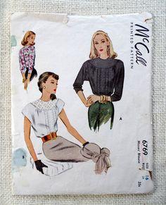 Vintage pattern McCall 6769 1940s blouse by momandpopcultureshop