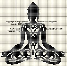 X-stitch Buddha zen arabesque noir Cross Stitch Pillow, Cross Stitch Love, Beaded Cross Stitch, Crochet Cross, Modern Cross Stitch, Filet Crochet, Cross Stitch Designs, Cross Stitch Embroidery, Cross Stitch Patterns
