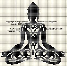 Grille gratuite point de croix : Bouddha zen arabesque noir