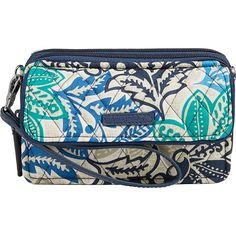 Vera Bradley RFID All in One Crossbody - Santiago - Crossbody Bags ($58) ❤ liked on Polyvore featuring bags, blue, blue cross body bag, wristlet crossbody, pocket bag, vera bradley wristlet and blue wristlet
