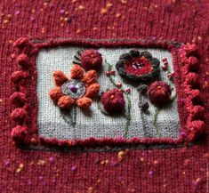 Вариант из темно-красного твида Wool Embroidery, Embroidery Stitches, Knit Vest Pattern, Thread Painting, Fashion Sewing, Wool Sweaters, Textile Art, Needlework, Knitting Patterns