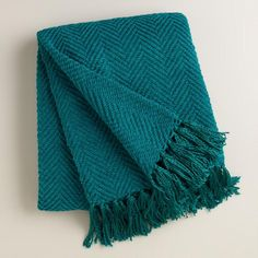 Blue Chunky Chenille Throw with Tassels - v1