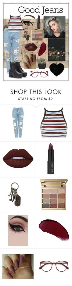 """""""Good Jeans"""" by falling-roses-and-leaves ❤ liked on Polyvore featuring Topshop, Motel, Lime Crime, Trish McEvoy, AllSaints, Stila, Concrete Minerals, Charlotte Tilbury and INC International Concepts"""