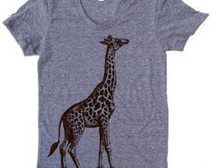 Womens GIRAFFE in High Tops american apparel T Shirt by ZenThreads