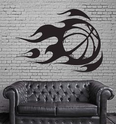 Wall Sticker Vinyl Decal Mural Sport Basketball Fire Ball Unique Gift 45 in X 66 in / White Basketball Bedroom, Basketball Wall, Indoor Basketball, Basketball Court, Wall Stickers Sports, Sticker Vinyl, Wall Vinyl, Mural Wall Art, Wall Art Decor