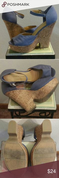 """LC Lauren Conrad Sz. 7 Cork Wedges Not new, but only wear is VERY minimal on the soles. No damage to cork wedge, elastic on ankle strap is in perfect condition, fabric is pristine.  1.5"""" platform, 5"""" heel.  Price is firm with FREE SHIPPING.  OFFER $18  LC Lauren Conrad Shoes Wedges"""