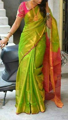 Uppada tissue saree in green and pink with pink blouse piece,handwoven uppada saree,partywear saree