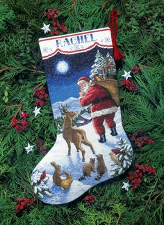 Santa's Arrival Cross Stitch Christmas Stocking Kit