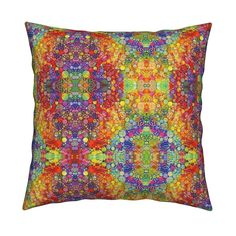 Catalan Throw Pillow featuring HOLI HINDU FESTIVAL OF COLORS GEOMETRIC KOLKATA by paysmage | Roostery Home Decor