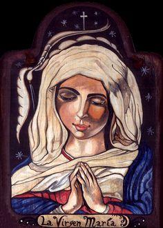SOLD: La Virgen Maria / pigmented wood panel (retablo) by Virginia Maria Romero