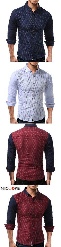 New Brand Slim Fit Men Long Sleeve Shirt Men Polka Dot Work Wear Casual patchwork Men Shirt Social Cotton Masculina Camisa XXXL