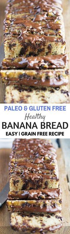 Healthy grain free paleo banana bread with chocolate glaze. Healthy gluten free best bread recipes for the paleo diet.