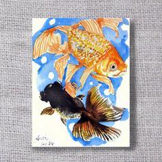 Make a wish Goldfish! by Natasha on Etsy Watercolor Animals, Watercolor And Ink, Watercolor Paintings, Creative Artwork, Artist Trading Cards, Fish Art, Mail Art, Illustration Art, Illustrations