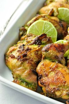Easy Thai Baked Chicken with cilantro, jalapeño, ginger, basil, garlic and coriander