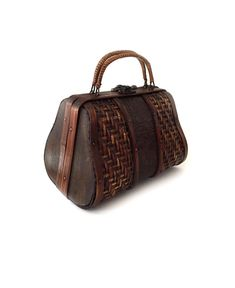 Woven Wood and Bamboo Purse with Woven Rattan by lakesidecottage