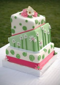 Pink and Green Topsy-turvy square wedding cake by So Soiree Cakes & Events.  sosoiree.blogspot.com