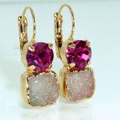 Hot Pink Drop Earrings Fuschia & Gray Druzy by inbalmishan on Etsy