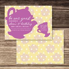 Be Out Guest Tea Party Birthday Invite is sold as a 5x7 flat style invitation. Choose from a printable digital file that you print yourself or l would be happy to take care of the printing process for you. If you are not sure which option is best for you, read below for