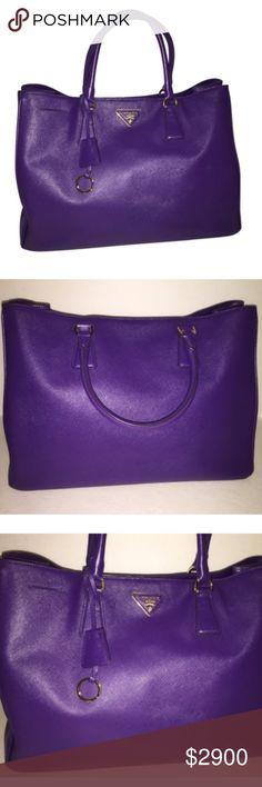 b31d4c44b2ac Prada Saffiano Lux purple leather x-large tote Prada Gorgeous purple  Saffiano Lux Leather Tote