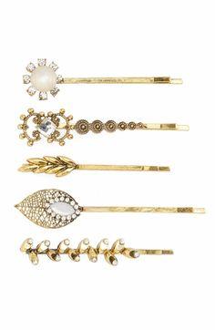 Main Image - Tasha 5-Pack Embellished Bobby Pins Gold Hair Accessories e79598050f83