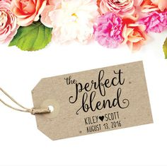 The Perfect Blend Tag Stamp  for your Wedding Coffee cups by SouthernPaperAndInk. Click to purchase your custom stamp.