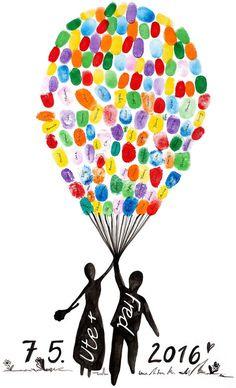 """Hochzeits-DIY: Fingerabdruckbild mit fliegendem Brautpaar an riesiger Luftballontraube - """"Fee ist mein Name"""""""