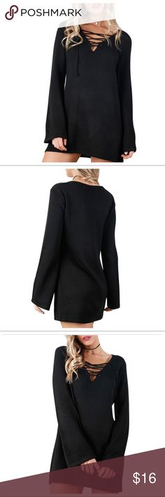 DEEP V NECK LACE UP DRESS LISTING SOON Long Sleeve Lace Up V Neck Dress Long Shirt Knit Dress Sweater Dress. Will be updating more info ASAP. Also available in Khaki Dresses Long Sleeve