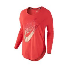 Women's Nike Signal Metallic Long-Sleeve Shirt ($40) ❤ liked on Polyvore featuring tops, t-shirts, metallic shirt, red long sleeve shirt, longsleeve shirt, long sleeve shirts and nike shirts