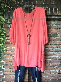 Go With The Flow Dress-Coral Lace Fringe Stylish Tunic Loose Fit Plus Size 2X 1X #sscc #Tunic
