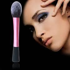 Pink Fiber Cosmetic Powder Foundation Long Aluminum Tube Brushes