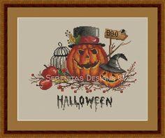 Halloween Cross Stitch Pattern Pumpkin Spider by serenitasdesigns