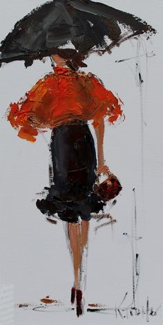 Kathryn Morris Trotter American Impressionist Knife painter Dancing in the Rain Tutt Art@ Umbrella Painting, Umbrella Art, Black Umbrella, Arte Tribal, Sketch Painting, Lovers Art, Watercolor Art, Art Projects, Art Photography