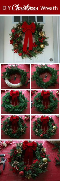 36 Christmas garland ideas that will make your door charming and unique for the holidays - Feliz Natal 1609 Homemade Christmas Wreaths, Xmas Wreaths, Noel Christmas, Cheap Christmas, Christmas Lights, Christmas Cookies, Christmas Ornament, Diy Wreath, Wreath Ideas