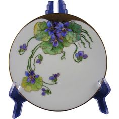 """Favorite Bavaria Violet Design Plate (Signed """"Kitt"""" for Stouffer & Donath Artist Joseph R. Kittler/c.1906-1920)"""