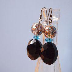 Black Stone Earrings  (clear moon 2012 winter)