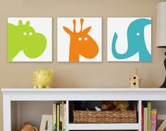 Kids Canvas Wall Art dragon nursery art boy's room decor chevron fantasy baby boy decor