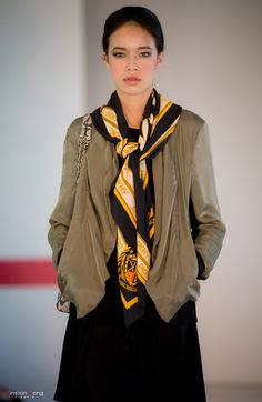 Bomber jacket, tunic, pants, scarf and bag by DKNY at Oakridge Centre Fashion Show, Luxury & Supercar Weekend – Photo: Winston Wong http://styledrama.com/2014/09/09/sportswear-influence-fall/