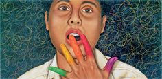 """Gallery - ASL & Deaf Related - Chuck Baird Art: American Sign Language - """"Color"""""""