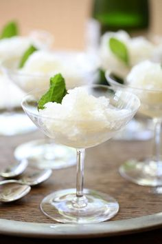 "Lemon Champagne Granitas — an elegant end to the evening! Almost as elegant as David Layne Designs ""Ah-ha Tables"""